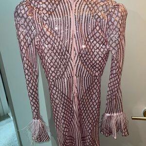 Sequin Goddess Mini Pink Dress